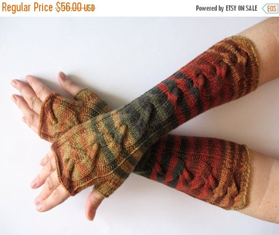 SALE Fingerless Gloves Brown Beige Red Orange Yellow Green wrist warmers