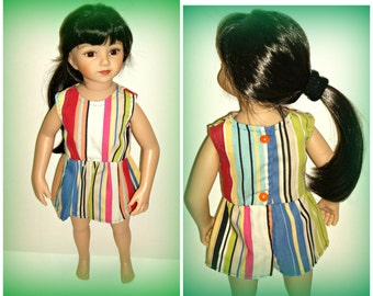 "Striped Romper Suit for 20"" Maru and Friends Doll, Dianna Effner Sculpt, for Adult Collectors, Handmade Doll Clothes by traveller240"