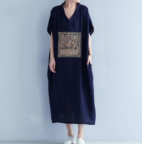 summer V collar Loose fitting Long dress/ fashion Women maxi dress in dark blue