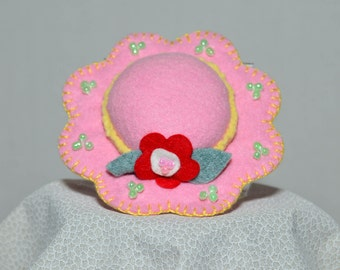 Hat Pin Cushion - Bright Pink Wool Felt Handmade Hat Pin Cushion