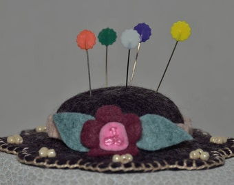 Hat Pin Cushion - Heather Purple Wool Felt Handmade Hat Pin Cushion