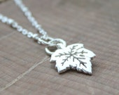 Sterling Silver Petite Maple Leaf Necklace, Delicate Everyday Silver Leaf Necklace, Proud Canadian Maple Necklace - Maple Necklace