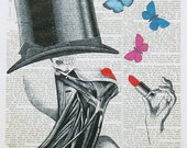 LIPSTICK MAKE UP anatomical art girl lady anatomy beauty cosmetics victorian dictionary art illustration butterflies