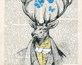 DEER PARTY gentleman butterflies art print poster wall decor hunting dictionary art fashion illustration