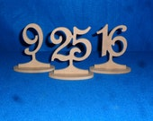 """Wooden Table Numbers 4""""  Minis on a stick  3"""" numbers with base 1-15 MDF / wood / Free standing wedding"""