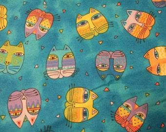 Laurel Burch Fabric Cat Heads on Bold Mottled Turquoise - Fantastic Felines