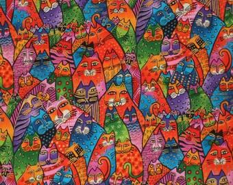 Laurel Burch PACKED CATS OOP Cotton Fabric - Fantstic Felines Collection - Jewel Tones