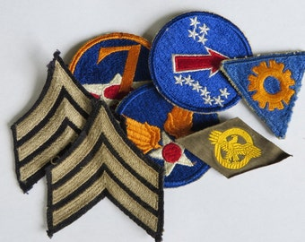 US Army WW2 Rank and Patch lot, Sgt Rank, 7th Air Force, AAF, Ruptured Duck, Pacific Operations and Tec