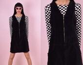 90s Zip Up Black Velvet Dress