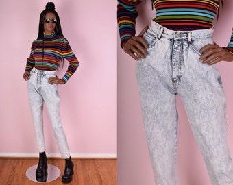 90s Acid Wash High Waisted Jeans/ 26 Waist/ 1990s/ High Rise/ Mom Jeans