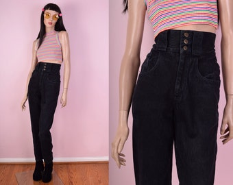 80s Mega High Waisted Black Denim Jeans