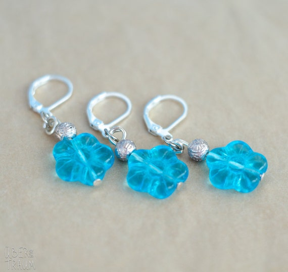 Crochet Stitch Markers - set of 3 - silver claps with blue flower ...