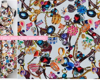 Stretchy Silk Satin Fabric ,digital printing diamonds  fashion design silk supplies