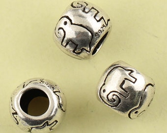 2pcs 10mm 925 Sterling Silver Tube Cute Elephant Beads / Findings / Spacer, Antique Silver