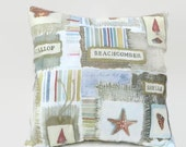 Beach Cottage Decor Throw Pillow Cover Upcycled 20 X 20 Beachcomber, Sea Shells