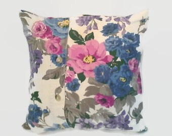 Blue and Pink Floral Pillow Cover 14 Inch Square Upcycled 14 X 14