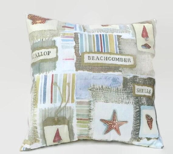 Beach Cottage Throw Pillows : Beach Cottage Decor Throw Pillow Cover Upcycled 20 X 20