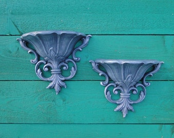 """Pair of wall pockets ornate romantic French Country Paris Apartment Blue Gray """"Stormy"""" Modern Vintage"""
