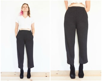 90s Knit Black Pants / Cropped Trousers / Size Small-Medium