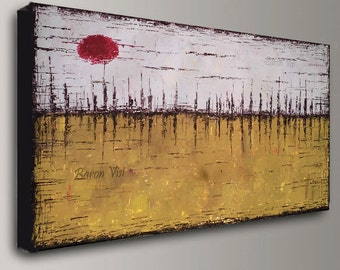 yellow ochre beige brown Abstract acrylic Painting Textured impasto large canvas modern oil palette knife beige yellow ochre Fine Art Visi