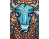 Original Art Wildebeest. In Snood! ACEO Original art.