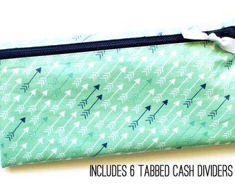 Dave Ramsey budget cash system wallet with tabbed dividers   mint, navy, white arrow print fabric