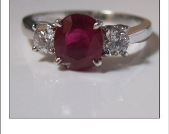 Fine Estate 14k 1.78 Ruby and .52 Ct. VS F Diamond Ring with 8839 Appraisal