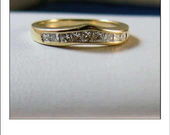 Estate 14k Curved Princess Cut Diamond Band Ring from Kay Jewelers