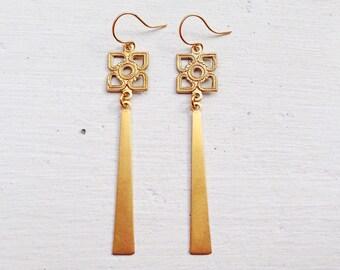 Long Bar Earrings/Boho Earrings/Bohemian Earrings/ Boho Chic/Long Gold Earrings/Gifts For Her/Long Earrings/Lightweight Earrings/Dangle