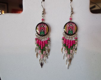 SALE Native American Style Beaded Southwestern Ceramic Earrings in Hot Pink and Black Gypsy, Bohemian, Great Gift Ready to Ship