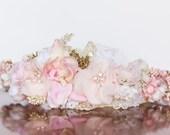 Blush Flower Crown - Wedding Crown - Flowergirl hairpiece - Summer Wedding - Newborn Photo Prop - Wedding Crown - Floral Hairpiece