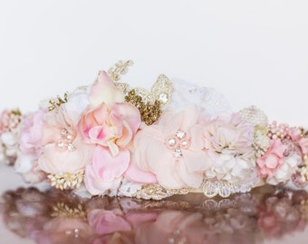 Blush Flower Crown - Wedding Crown - Flowergirl hairpiece - Summer Wedding - Newborn Photo Prop - Wedding Crown - Floral Hairpiece