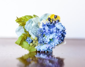 Hair Clip  in Bright Shades of blue, sparkles, and Greenery - Hairbow - Photo Prop - Baby Headband - Newborn Clip