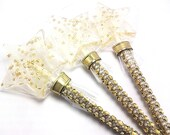 10  CLEAR STAR WAND Lollipops with Edible Stars on Bling Sticks - Bridal Shower Favors, Cinderella Party