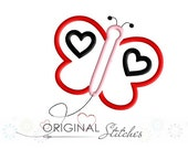 Valentine's Day Heart Butterfly Applique and Machine Embroidery Digital Design File 4x4 5x7 6x10