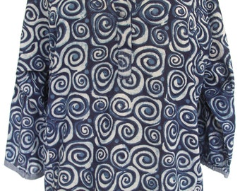 Simple blouse, Indigo Blue spirals