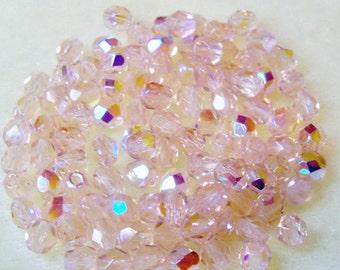 Firepolish Glass Beads 4mm Round Preciosa Brand Name 1 New Strand 100 Pcs Rose Pink ab