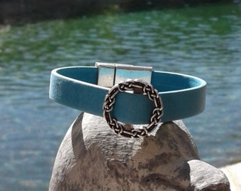 Sky Blue Leather and Celtic Knot