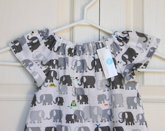 Elephant Dress in Grey and White