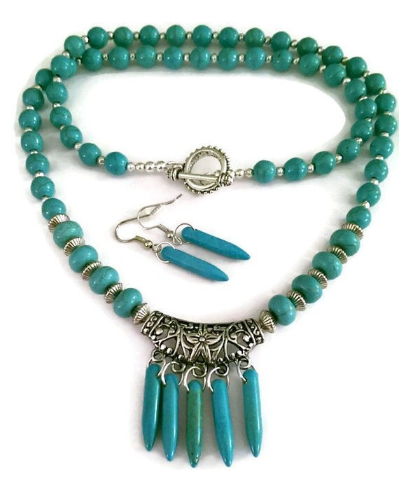 turquoise howlite necklace turquoise spike by
