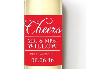 Cheers Mr. and Mrs. Custom Wine Labels - Wine Lovers Wedding Favor - WEATHERPROOF and REMOVABLE - Wine Bottle Labels