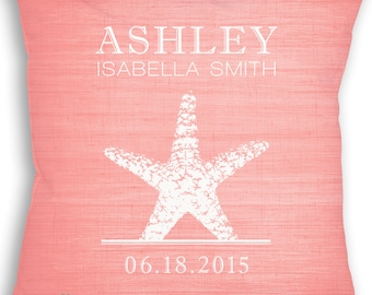 Starfish - Custom Baby Girl or Boy Name Throw Pillow - Nursery - Birth Announcement - Beach Nautical Nursery - Newborn Gift