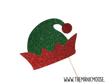 Christmas Elf Photo Booth Props ~ Elf Hat with Glitter ~ Christmas Photo Booth Props