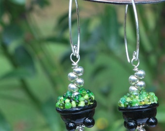 Cauldrons, Halloween earrings, green and black earrings, fun earrings, SRAJD