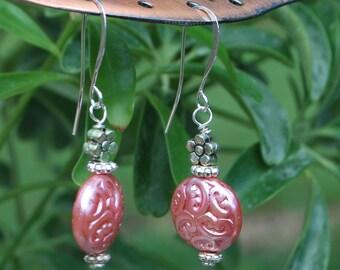 Delightful czech pressed glass earrings, pink earrings, silver earrings SRAJD