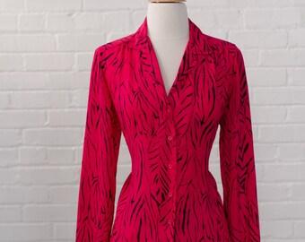 Hot Pink with Zebra Stripe Blouse - Career Secretary Office - Valentine Date Night Top - Size S Small / M Medium
