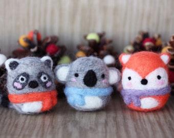 Needle felted animals: raccoon, koala and fox - egg shape ball eco friendly toy, Christmas tree ornament and keychain
