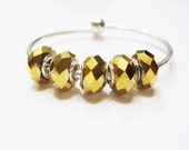 5, Gold, AGlass Crystal, Mirror Look, Faceted Euro Style Slide Charm, Bracelet Beads