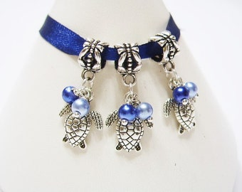 3 Blue on Blue Turtles w/ Hand Wrapped, Glass Pearls, European Bracelet, Dangle Charms, Tibetan Silver  Beads, Euro
