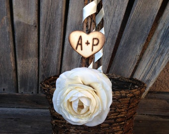 Personalized Flower Girl Basket Shabby Chic style with engraved initials